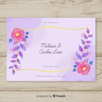 Invitación floral en acuarela de boda