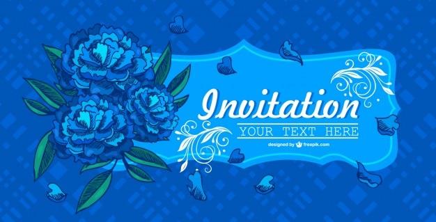 Invitación floral azul