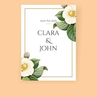 Invitación floral blanca con flor realista.