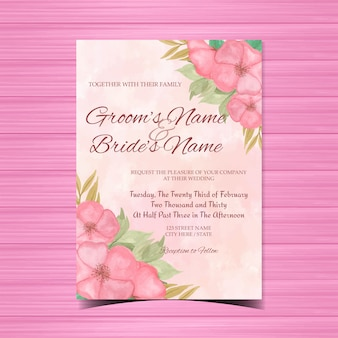 Invitación floral de la boda de la acuarela con las flores rosadas hermosas