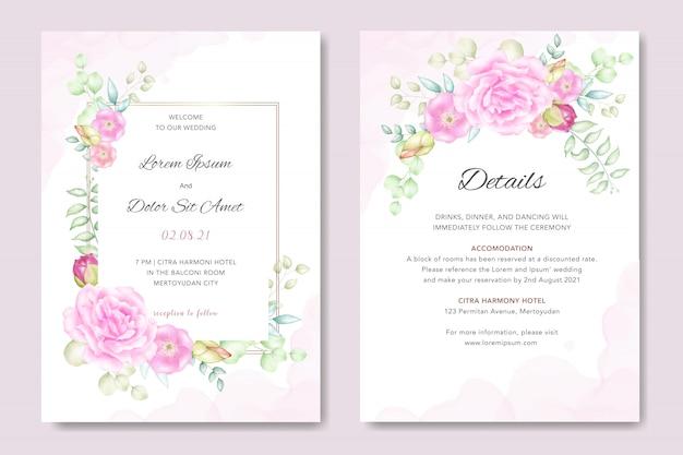 Invitación floral de la boda de la acuarela