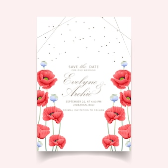 Invitación floral de la boda con la flor de la amapola