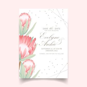 Invitación floral de la boda con la flor protea