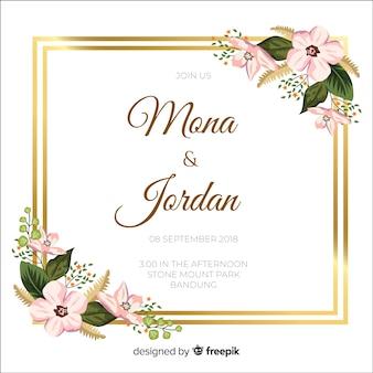 Invitación floral de boda con marco dorado