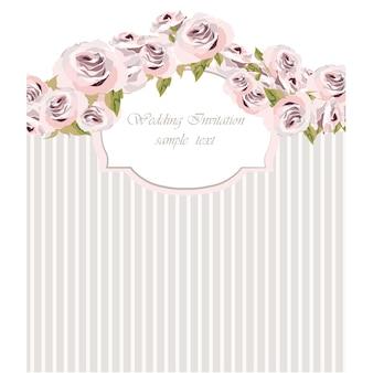 Invitación floral de boda con rayas grises