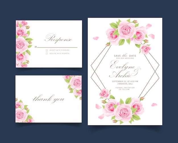 Invitación floral de la boda con rosa rosa