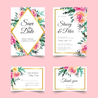 Invitación floral de la boda del rubor