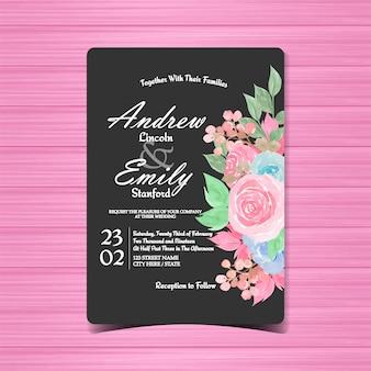 Invitación floral de la boda del vintage