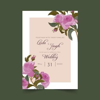 Invitación floral de la boda