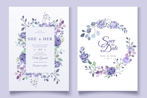 Invitación floral colorida de la boda