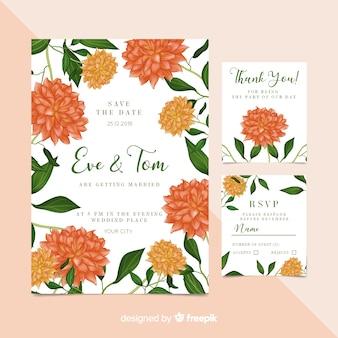 Invitación floral de boda adorable con diseño realista