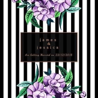 Invitación floral de la boda de la acuarela con el modelo de las rayas