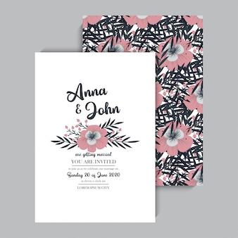 Invitación floral de la boda elegante invitar a vector de la tarjeta de diseño
