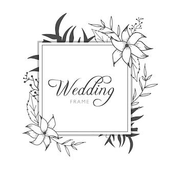 Invitación floral dibujada mano simple de la boda
