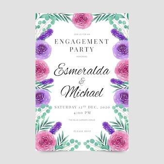 Invitación floral fiesta de compromiso