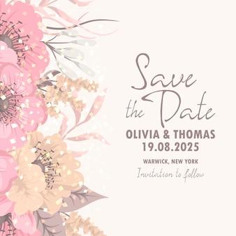 Invitación floral hermosa de la boda