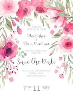 Invitación floral linda de la boda lista para imprimir