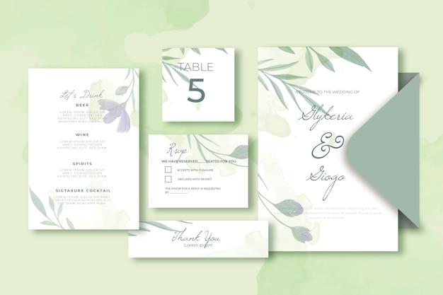 Invitación floral y sobres plantilla de papelería de boda