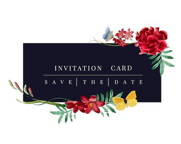 Invitación floral tarjeta maqueta ilustración