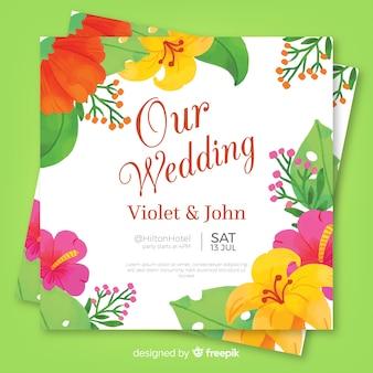 Invitación de flores tropicales de boda en acuarela