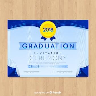 Invitación de graduación elegante con diseño plano