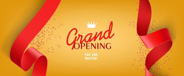 Invitación de gran inauguración con confeti, cintas rojas