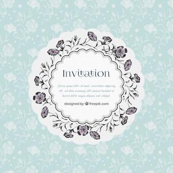 Invitación guirnalda floral drenado mano