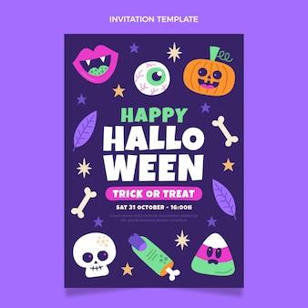 Invitación de halloween de diseño plano dibujado a mano