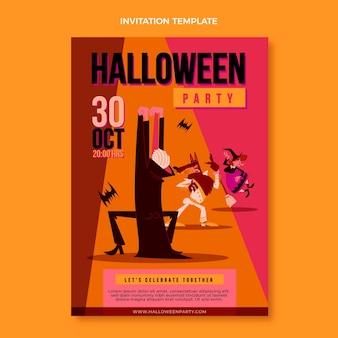 Invitación de halloween de diseño plano