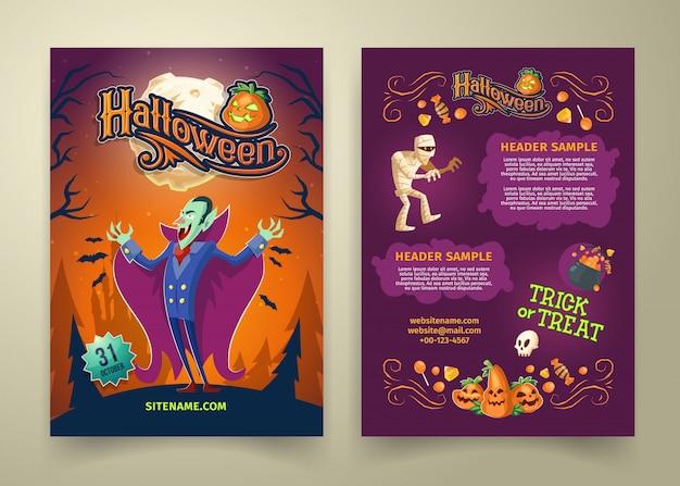 Invitación de halloween en la lista. plantilla de folleto con encabezados. fondo con el conde drácula.