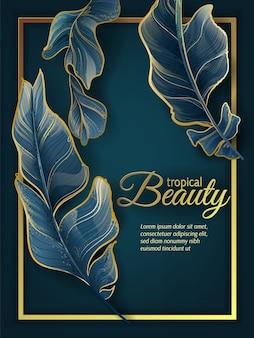 Invitación de hojas tropicales de oro