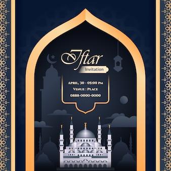 Invitación iftar blie y oro