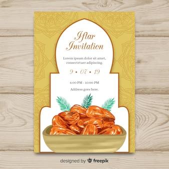 Invitación de iftar dibujado a mano