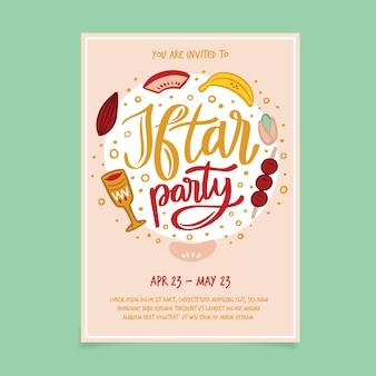 Invitación de iftar de diseño dibujado a mano