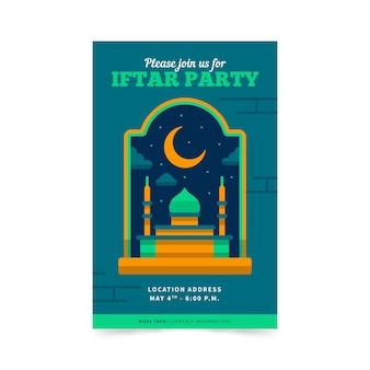 Invitación iftar diseño plano