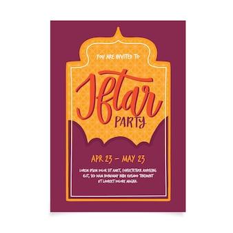 Invitación iftar estilo dibujado a mano