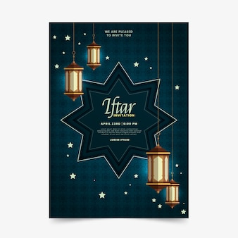 Invitación iftar de hermoso diseño plano