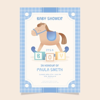 Invitación ilustrada de baby shower para bebé