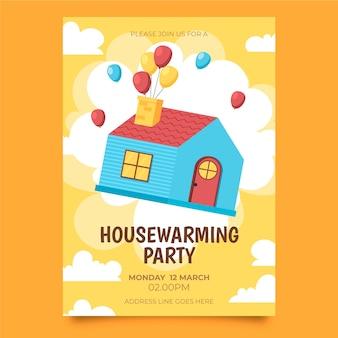 Invitación ilustrada de inauguración de la casa volando