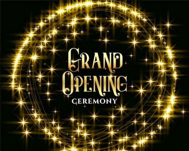 Invitación de inauguración de destellos dorados brillantes