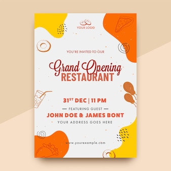 Invitación de inauguración de vector o diseño de volante con detalles de evento para restaurante