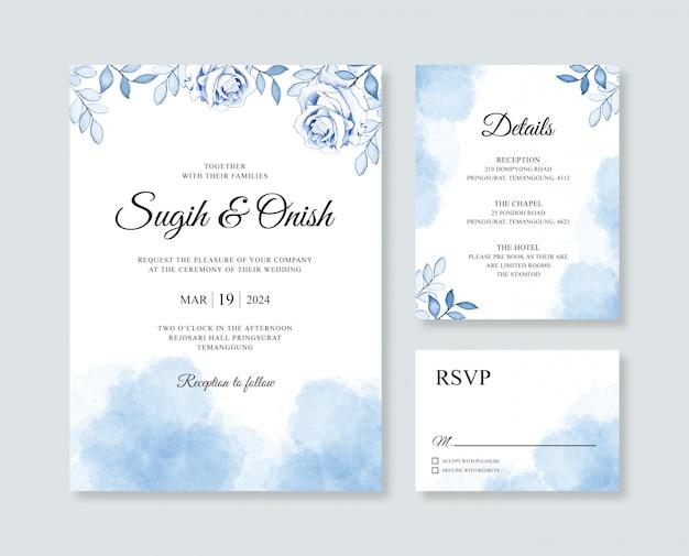 Invitación de invitación de boda hermosa con acuarela de flores y slpash
