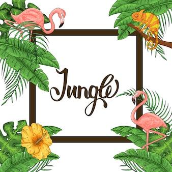 Invitación a la jungla con flamenco, camaleón y hojas de palmera.