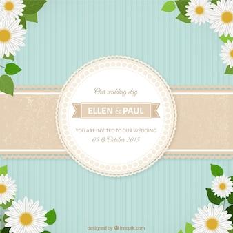 Invitación linda de boda con margaritas