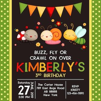 Invitación linda del cumpleaños de los insectos
