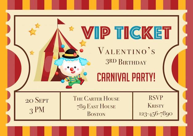 Invitación linda del cumpleaños del tema del carnaval del boleto