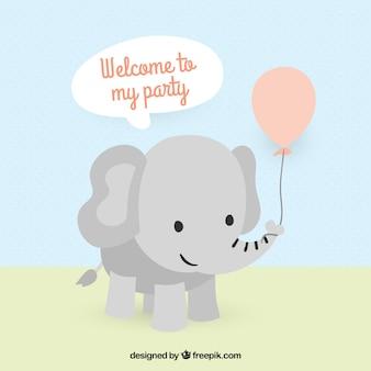 Invitación linda elefante de fiesta de cumpleaños