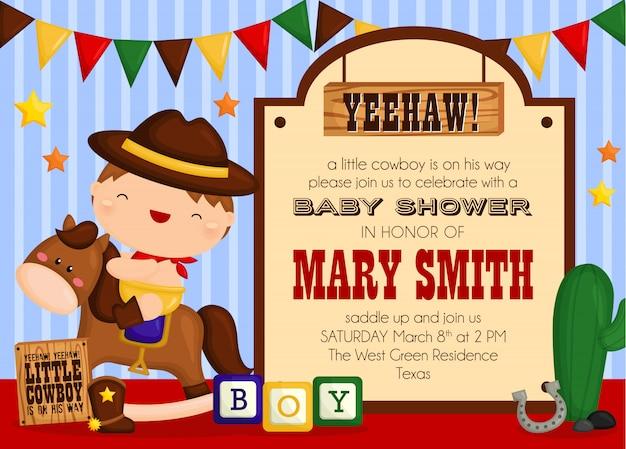 Invitación linda de la fiesta de bienvenida al bebé del vaquero