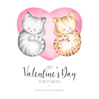 Invitación linda de la tarjeta del día de san valentín con los gatos preciosos