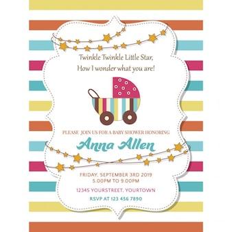 Invitación con líneas a todo color para la fiesta del bebé